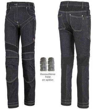 Pantalon Jean de Travail Femme Adolphe Lafont, Modèle Wing, Bleu Indigo