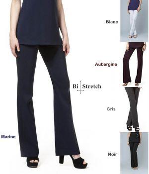 Pantalon Femme, Coupe Elégante, 100% Polyester Bi-Stretch Confort