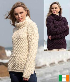 Pull Irlandais Femme, Patchwork de points de Tricotage des îles d'Aran