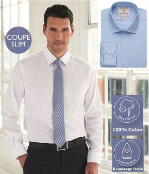 Chemise Homme, Coupe Slim, Manches longues, 100% Coton de Qualité