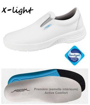 Chaussures Homme et Femme Abeba, Cuir blanc, Embout acier, Active Comfort