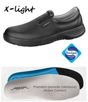 Chaussures Homme et Femme Abeba, Cuir noir, Embout acier, Active Comfort