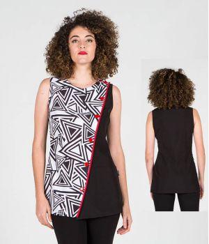 Blouse Femme, Sans Manches, 100% Polyester, Entretien Facile