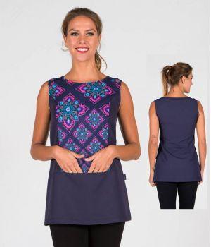 Blouse Femme, Sans Manches, 100% Polyester Microfibre, Boutons Pression décoratifs