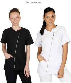 Blouse Professionnelle Femme, Zip central, Microfibre Entretien Facile