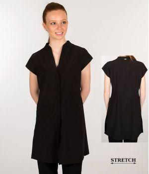 Blouse Professionnelle Femme, Noire, Stretch Confort, Boutons Pression Masqués