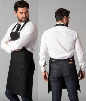 Tablier à Bavette Noir, Tissu Finition Satinée, Trois poches