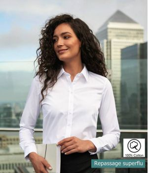 Chemisier Femme, Blanc, Coupe Ajustée, 100% Coton Sans Repassage