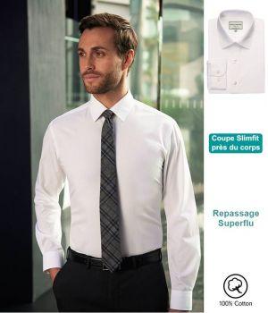 Chemise Blanche Homme, Coupe Slim, 100% Coton, Sans Repassage