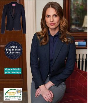 Veste Tweed Femme, Coupe Slim, Bleu Marine à Chevrons