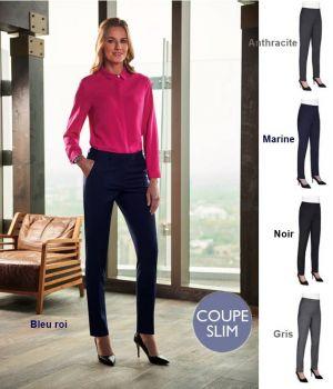 Pantalon Femme, Coupe Slim, Chic et Raffiné, Polyester Laine et Lycra