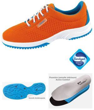 Chaussures de Travail, Look Fashion, Textile Tricoté Orange, Femme et Homme