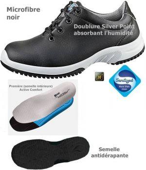 Chaussures de Travail Fashion et Confort, Lacets, Microfibre Noir