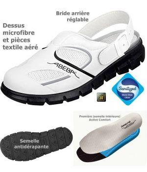 Sabots de Travail Confort, Look Tendance, Blanc et Noir, Dessus Microfibre et Textile Aéré