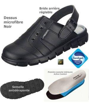 Sabots de Travail Confort, Look Jeune, Noir, Dessus Microfibre Léger