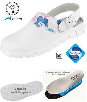 Sabots de Travail Confort, Look Dynamic, Blanc avec Motif, Lavables
