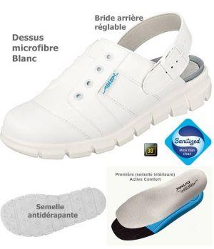Sabots de Travail Confort, Look Jeune, Blanc, Dessus Microfibre Léger