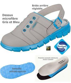 Sabots de travail confort, look jeune, Gris et Bleu Dessus microfibre léger