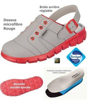 Sabots de travail confort, look jeune, Gris et Rouge, Dessus microfibre léger