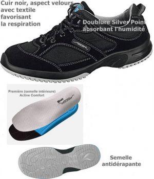 Chaussures de Travail Fashion et Confort, à Lacets, Velours avec Textile, Noir