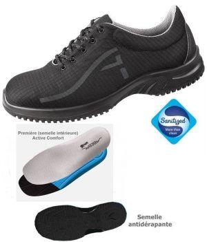 Chaussures de Travail, Look Fashion, Textile Noir Respirant, Hydrofuge