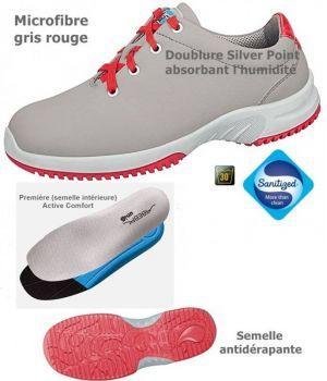 Chaussures de travail fashion et confort, à lacets, microfibre gris et rouge