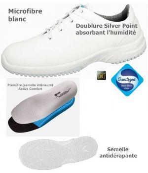 Chaussures de travail fashion et confort, à lacets, microfibre blanc