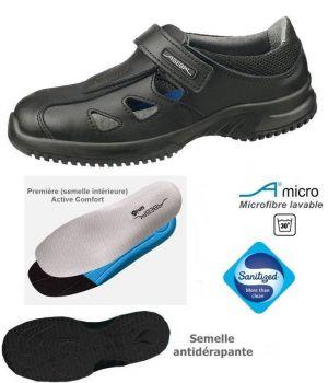 Chaussures de travail fashion et confort, Microfibre noire, Semelle intérieure renouvelable