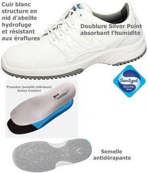 Chaussures de travail fashion et confort, à lacets, Cuir blanc nid d'abeille