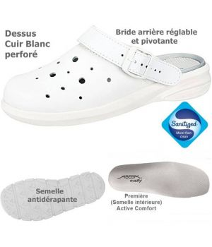 Sabots de travail confort, design et fonctionnels, Cuir Blanc aéré