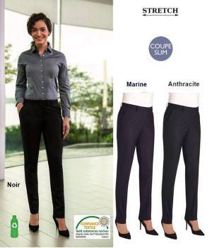 Pantalon Femme, Coupe Slim, Stretch Confort, Tissu Résistant