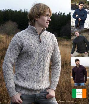 Pullover Irlandais pour homme, Fermeture zip, 100% Laine Mérinos