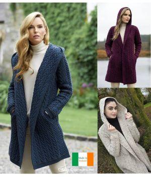 Magnifique Manteau Irlandais à Capuche, Motif Chevrons, 100% Laine Mérinos