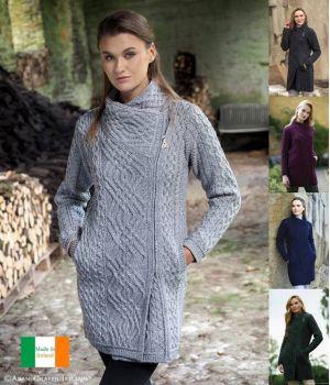 Manteau Irlandais pour Femme, Forme croisée Tendance, Laine Mérinos