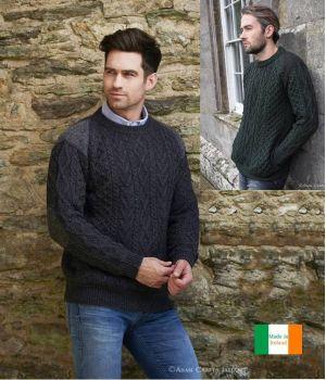 Pull Homme Irlandais, Laine Mérinos et Tweed Donegal sur épaules et coudes