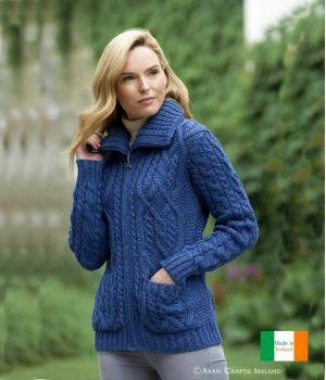 Veste Irlandaise, femeture par zip celtique, laine Merino extra douce