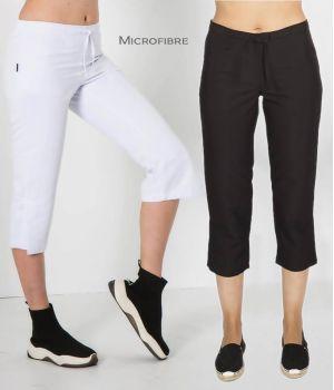 Pantalon Pirate Femme, Taille Elastiquée au Dos, Polyester Microfibre