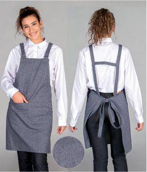 Tablier à Bavette Indigo, Avec 4 Poches, Look Tendance, 85% Coton, 15% Polyester