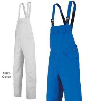 Cotte de Travail, 100% Coton, Bretelles Elastiquées à Boucles Clic-Clac