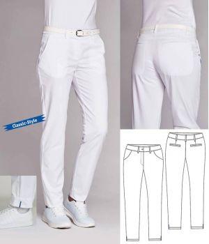 Pantalon Femme Chino, Blanc, 5 Poches, Jambes Droites