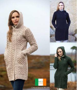 Magnifique Manteau Irlandais Femme, Avec Capuche, Zip Latéral