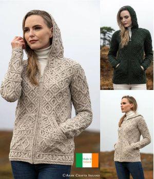 Magnifique Cardigan Irlandais Femme, Capuche, Poches Kangourou
