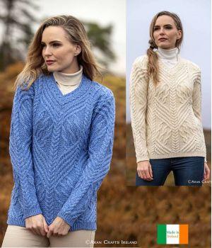 Charmant Pullover Irlandais Femme, Beau Motif de Torsades