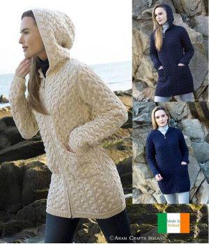 Très chic Manteau Irlandais à Capuche, 100% Laine Mérinos Extra Douce