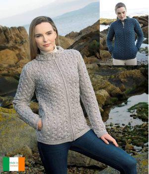 Cardigan Irlandais Femme, Confortable et Chaud, 100% Laine Mérinos Extra Douce