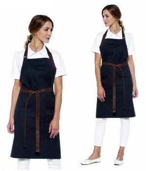 Tablier à Bavette, Look Tendance, 100% Coton, Noir