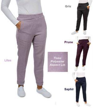 Pantalon Esthéticienne, Poches Spacieuses, Taille élastiquée, Polyester Aspect Lin
