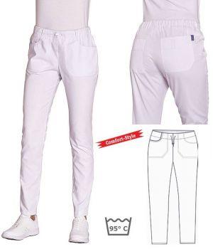 Pantalon Femme, Blanc, Style Sport, Confortable, Taille Elastique avec Cordon