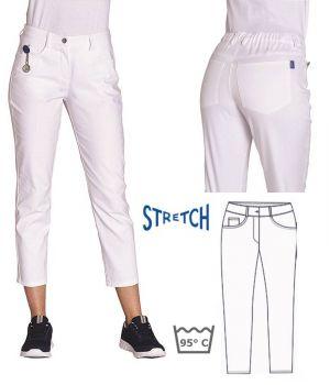 Pantalon Femme 7/8ème, Blanc, Taille Elastiquée Côté et Dos