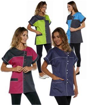 Tunique Manches Kimono, Patchwork Bicolore, Boutonnage Asymétrique par pressions